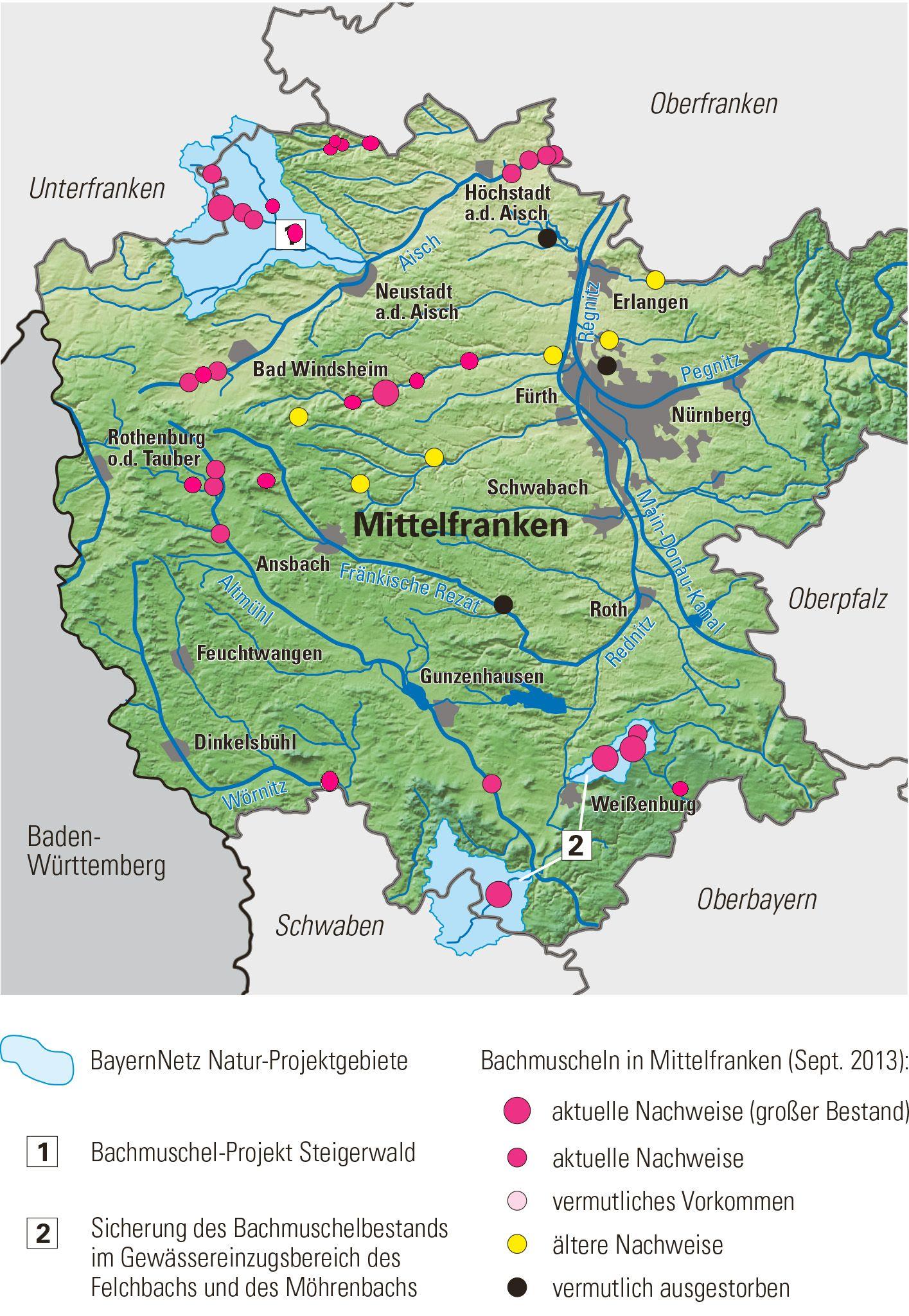 Mittelfranken Karte.Bachmuscheln In Mittelfranken Landschaftspflegeverband Mittelfranken